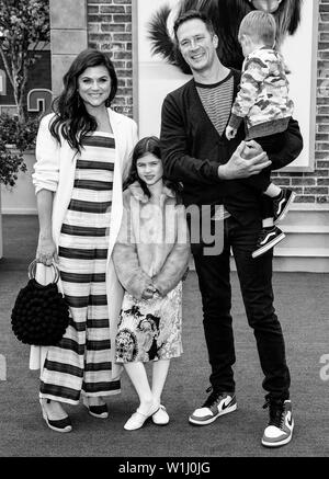 Los Angeles, CA - June 02, 2019: Tiffani Thiessen (L), husband Brady Smith (2-R), children Holt Smith (R) and Harper Smith (C)  attend the Premiere Of - Stock Image