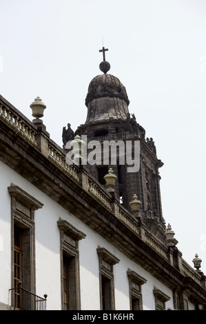 Metropolitan Cathedral, Zocalo Square, Plaza de la Constitucion, Mexico City - Stock Image