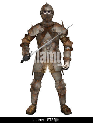 Undead Zombie Knight with Rusty Armour and Sword - Stock Image