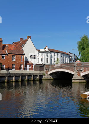 The River Wensum, at Fye Bridge in the Center of The Historic City of Norwich, Norfolk, England, UK - Stock Image