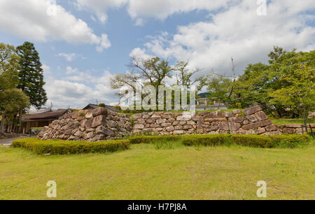 Stone foundation of former donjon (Tenshu) of Tanabe castle, Japan - Stock Image