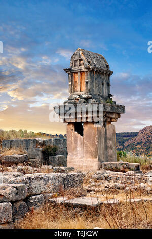 A Lycian  marble pillar tomb from 480-470 B.C.  Xanthos, UNESCO World Heritage Archaeological Site, Turkey - Stock Image