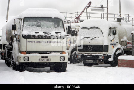 Oil Tankers,Snowed in,at Oil Terminal,Winter,Stranded,Corralls,Fuels,Domestic Heating Fuel,Agricultural Fuel,Industrial Fuel,Archive Image - Stock Image