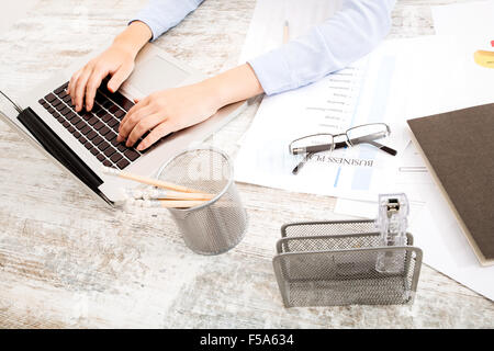 Working at the office with the computer - Stock Image