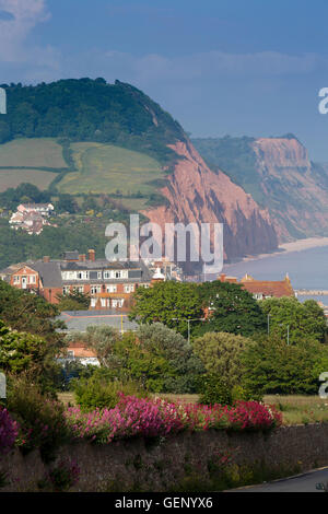 UK, England, Devon, Sidmouth town and Salcombe Hill cliffs, elevated view from Peak Hill - Stock Image