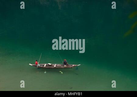 Umngot River, Dawki, Meghalaya, India - Stock Image