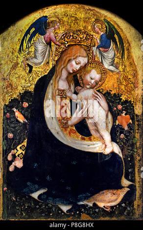 The Madonna della Quaglia - The Madonna of the Quail, Pisanello -  Antonio di Puccio Pisano 1390 -  1455 Italy, Italian. - Stock Image