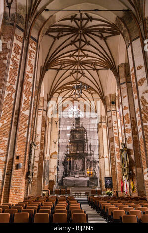 Deconsecrated St. John's church, brick Gothic style, Gdańsk, Poland - Stock Image
