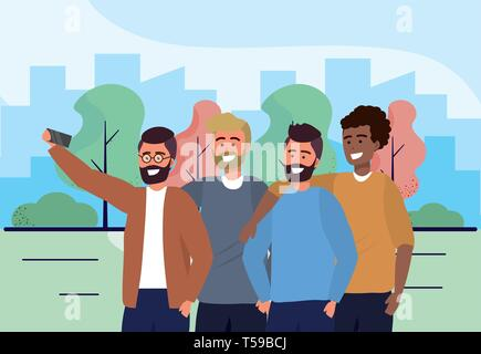 fun men friends with smartphone and casual clothes vector illustration - Stock Image