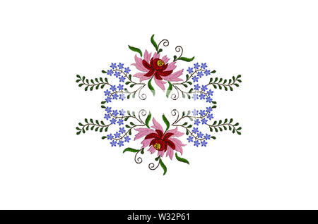 White background with embroidered floral pattern of red and pink petals on big flowers and small blue flowers on twisted branches with leaves - Stock Image