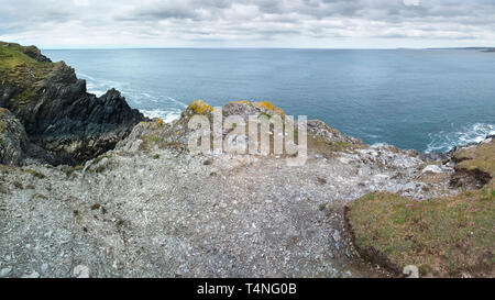 A panoramic image of the rocky rugged coastline on Pentire Point East in Newquay in Cornwall. - Stock Image