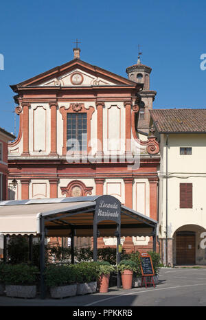 restaurant sign and church in Fontanellato, Emilia Romagna, Italy - Stock Image