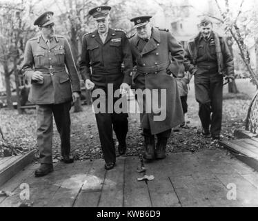 General Dwight Eisenhower with Prime Minister Winston Churchill. At left is General Sir Alan Brooke and at right - Stock Image