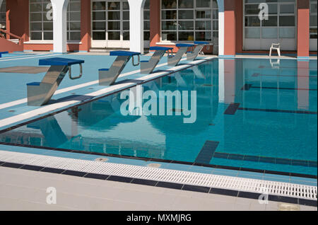 swimming pool by the casino building of Levanto, Liguria, Italy - Stock Image