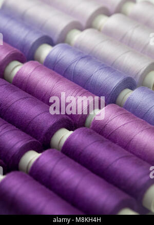 background thread spools purple, violet, lilac close-up - Stock Image