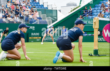 Eastbourne UK 23rd June 2019 - Harriet Dart of Great Britain waits for a serve against Anett Kontaveit of Estonia during their first round match at the Nature Valley International tennis tournament held at Devonshire Park in Eastbourne . Credit : Simon Dack / TPI / Alamy Live News - Stock Image