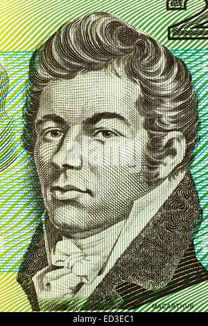 John Macarthur (1767-1834) on 2 Dollars 1966 banknote from Australia. - Stock Image