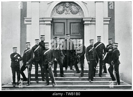 Earl Roberts (who won the Victoria Cross for heroism at Khudaganj)and the Headquarters Staff in Ireland.      Date: 1895-6 - Stock Image