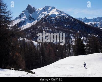 Roche des Clots and Crête de la Combe Arnaude from near Sommet Bucher, Molines-en-Queyras,Parc regional du Queyras, French Alps - Stock Image