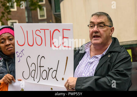 London, UK. 17th October 2018. Graeme, suspended chair of Malus Court Salford Tenants and Residents Association at the protest outside the Ministry of Housing, Communities and Local Government by residents living in tower blocks covered in Grenfell-style cladding, Fuel Poverty Action, and Grenfell campaigners demanding that the government make all tower-block homes safe and warm. Credit: Peter Marshall/Alamy Live News - Stock Image