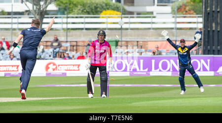 Brighton, UK. 7th May 2019 - Stiaan van Zyl of Sussex Sharks is bowled by Dan Douthwaite of Glamorgan during the Royal London One-Day Cup match between Sussex Sharks and Glamorgan at the 1st Central County ground in Hove. Credit : Simon Dack / Alamy Live News - Stock Image