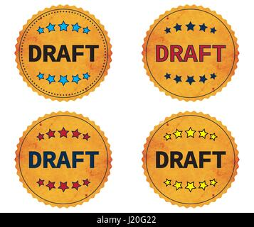 DRAFT text, on round wavy border vintage stamp badge, in color set. - Stock Image