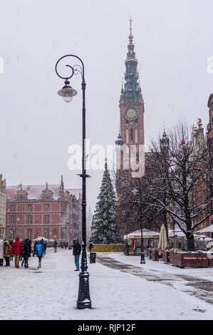 Ratusz, Main Town Hall, Renaissance style, 1556, in snowy weather, Długi Targ, Long Market, Gdańsk, Poland - Stock Image