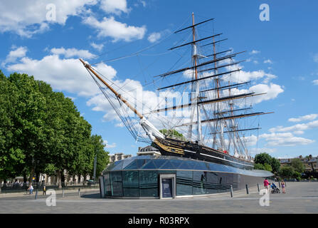 The Cutty Sark, historic  British clipper ship, in permanent dry dock at Greenwich, London, England, UK - Stock Image