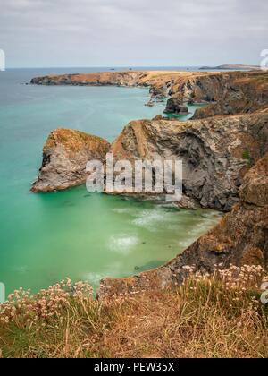 A long exposure looking down onto the North Cornwall coastline at Bedruthan Steps - Stock Image