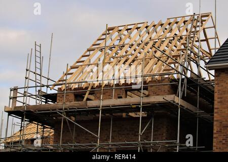 A new build house under construction. England uk - Stock Image