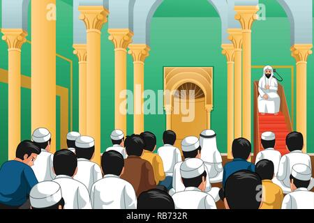 A vector illustration of Muslims Praying in a Mosque - Stock Image