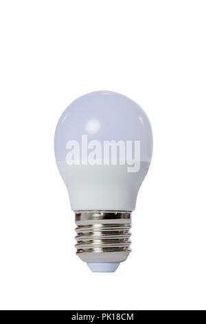 Led lamp with opaque glass bulb and E27 socket. White background. - Stock Image