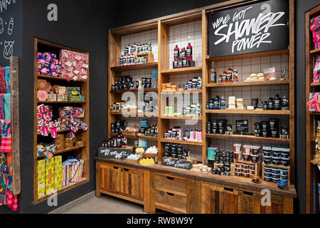 Colorful bathroom products for sale at the LUSH store at the Roosevelt Field Mall in Garden City, Long Island, New York. - Stock Image