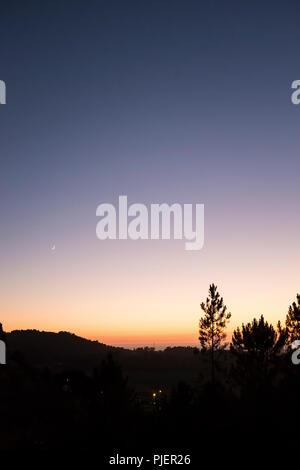 View at sunset from Casa de Rabiela near Vila Praia de Ancora, Northen Portugal. - Stock Image