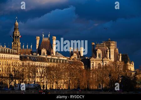 France, Paris, Hotel de Ville roof - Stock Image