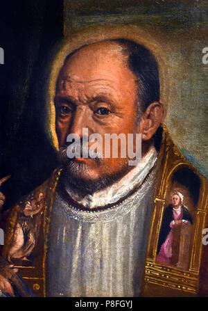 Bishop's Head, 1566, Domenico Brusasorci (1515-1567), oil on canvas Italy Italian - Stock Image
