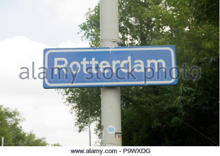 Rotterdam The Netherlands City entry sign. - Stock Image