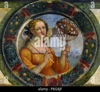 Allegorie delle arti liberali L'Astronomia - Allegories of the liberal arts Astronomy - Niccolò Giolfino (c. 1476 – 1555) was an Italian painter of the Renaissance period, active mainly in Verona. Italy - Stock Image