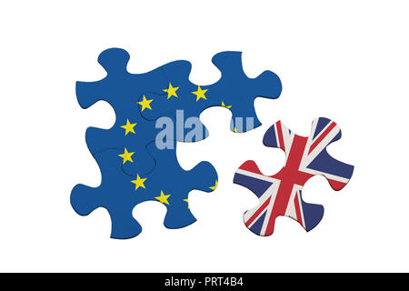Brexit - Jigsaw pieces showing the United Kingdom separated from the European Union isolated on white background; - Stock Image
