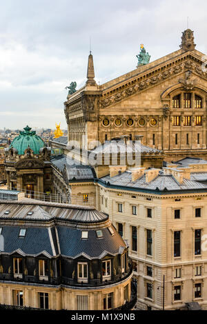 Rear view of the Opera Garnier in Paris at sunset showing the northern pediment of the stage house and the administration - Stock Image