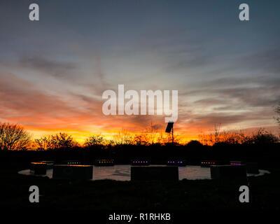 Wirksworth, Derbyshire, UK. 14th November, 2018. UK Weather: Spectacular sunset at the StarDisc above Wirksworth, Derbyshire Credit: Doug Blane/Alamy Live News - Stock Image
