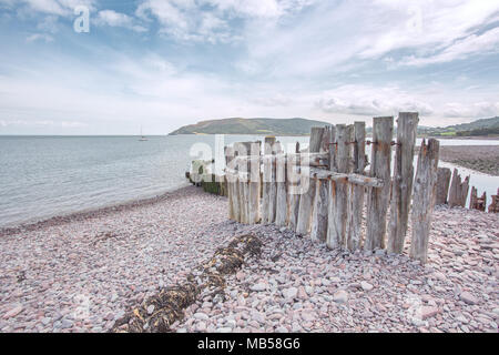 The beach at Porlock weir in summer Exmoor National Park Somerset Uk - Stock Image