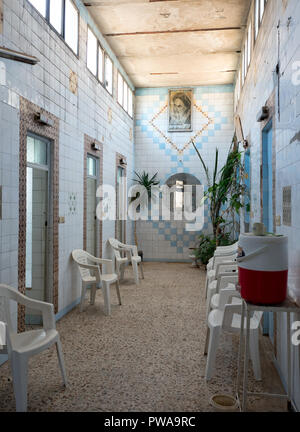 Yazd, Iran - March 8, 2017 : Mirza Reza Traditional bathhouse interior. The bathhouses, known as hammams in Persian, are communal spaces for washing,  - Stock Image