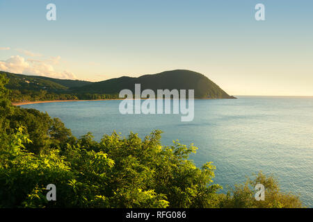 Grande anse beach point of view at evening, Guadeloupe, French West Indies. - Stock Image