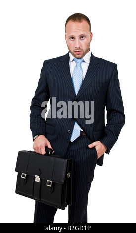 executive with bag on isolated background - Stock Image
