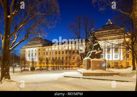 Winter dawn at the Opera House in Tallinn. - Stock Image