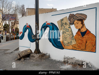 Isfahan, Iran - March 3, 2017 : anonymous persian style mural paintings - Stock Image