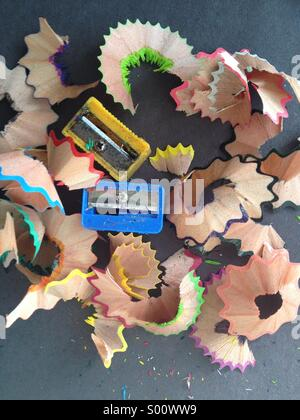 Sharpeners with colorful pencils trash - Stock Image