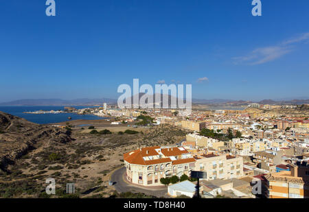 Puerto de Mazarron town Murcia Spain elevated view of buildings - Stock Image