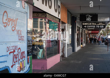 Old shops and sidewalk on William street, in the inner city suburb of Northbridge, Perth. Western Australia. - Stock Image